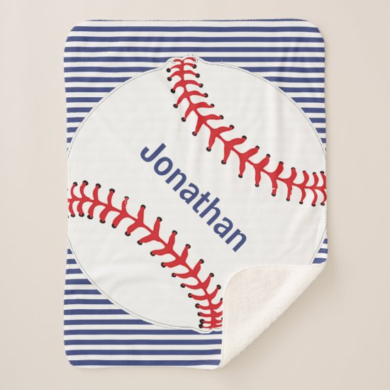Baseball on Stripes Design Sherpa Blanket