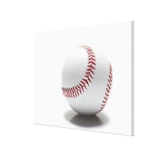 Baseball on white background gallery wrapped canvas