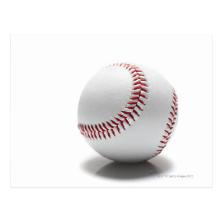 Baseball on white background postcard