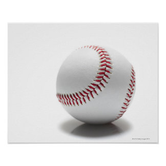 Baseball on white background poster