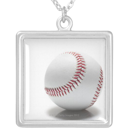 Baseball on white background silver plated necklace