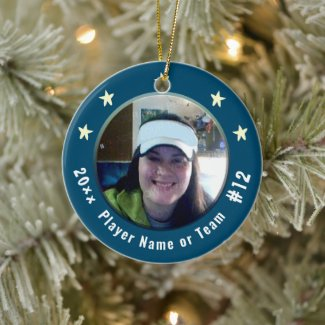Baseball or Any Sport One Photo Player Blue Ceramic Ornament