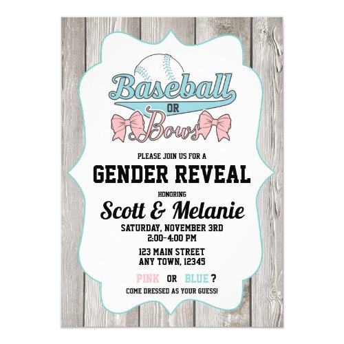 Baseball or Bows Gender Reveal Invitations