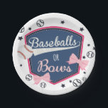 "Baseball or bows Gender Reveal Paper Plate<br><div class=""desc"">gender reveal</div>"