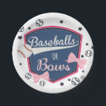 "Baseball or bows Gender Reveal Paper Plate<br><div class=""desc"">gender reveal</div>"