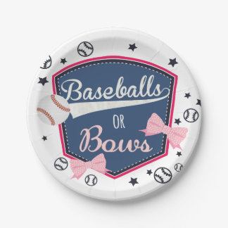 Baseball or bows Gender Reveal Paper Plate