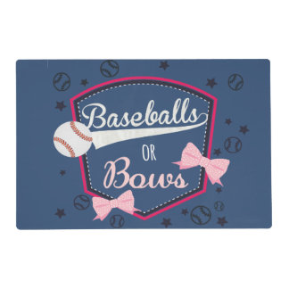 Baseball or bows Gender Reveal Placemat
