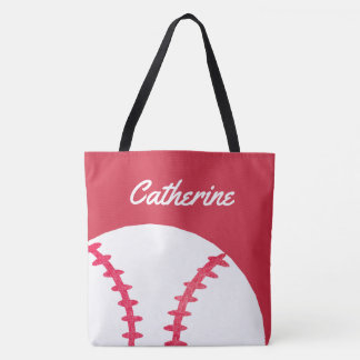 Baseball or Softball Red Personalized Kids Tote Bag