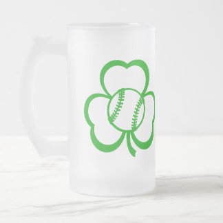 Baseball or Softball Three Leaf Clover for St. Pat Frosted Glass Beer Mug