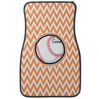 Baseball; Orange and White Chevron Car Mat