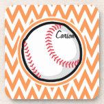 Baseball; Orange and White Chevron Coaster