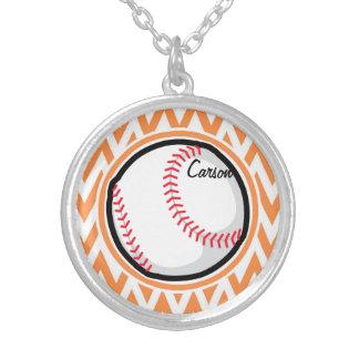 Baseball; Orange and White Chevron Pendants