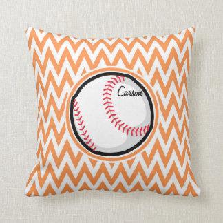 Baseball; Orange and White Chevron Throw Pillows