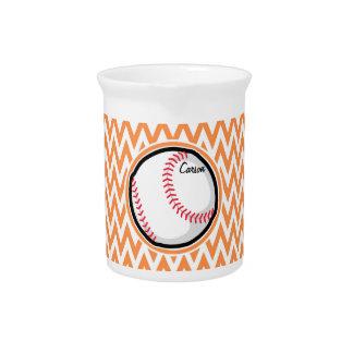 Baseball; Orange and White Chevron Pitcher