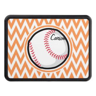 Baseball; Orange and White Chevron Tow Hitch Cover