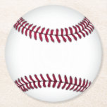 """Baseball Paper Coasters<br><div class=""""desc"""">Handy pulp board paper coasters done in a sports theme of a white baseball with red stitching.  Customize to add text to this fun coaster. Great for parties,  every day use and gift ideas.</div>"""