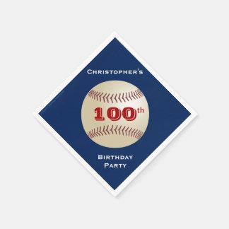 Baseball Paper Napkins, 100th Birthday Party Paper Napkin