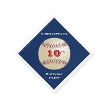 Baseball Paper Napkins, 10th Birthday Party Paper Napkin