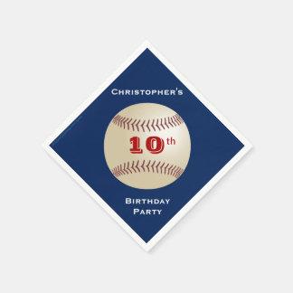 Baseball Paper Napkins, 10th Birthday Party Standard Cocktail Napkin