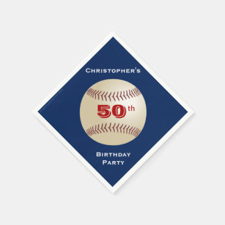 Baseball Paper Napkins, 50th Birthday Party Napkin