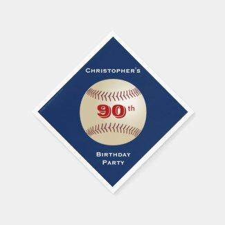 Baseball Paper Napkins, Birthday Party, 90th