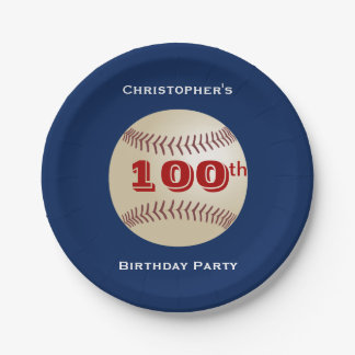 Baseball Paper Plates, 100th Birthday Party Paper Plate