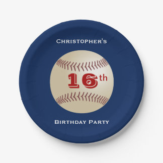 Baseball Paper Plates, 16th Birthday Party Paper Plate