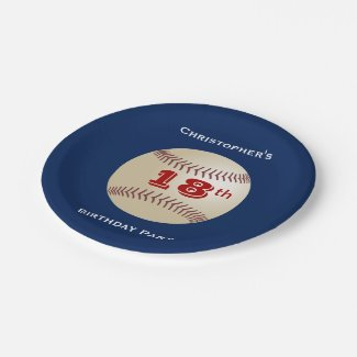 Baseball Paper Plates, 18th Birthday Party Paper Plate