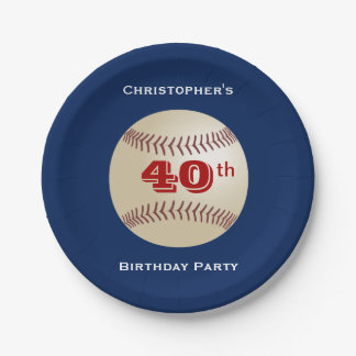 Baseball Paper Plates, 40th Birthday Party Paper Plate