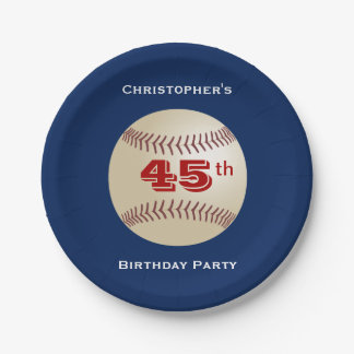 Baseball Paper Plates, 45th Birthday Party Paper Plate