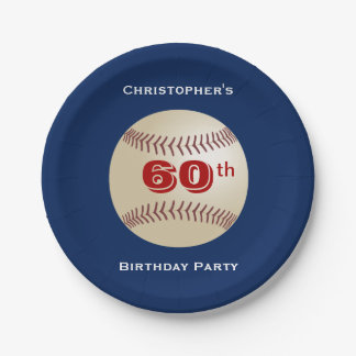 Baseball Paper Plates, 60th Birthday Party Paper Plate