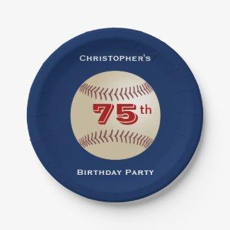 Baseball Paper Plates, 75th Birthday Party