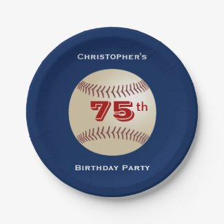 Baseball Paper Plates, 75th Birthday Party