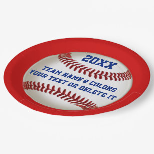 Baseball Paper Plates with YEAR NAME COLORS  sc 1 st  Zazzle : baseball paper plates - pezcame.com