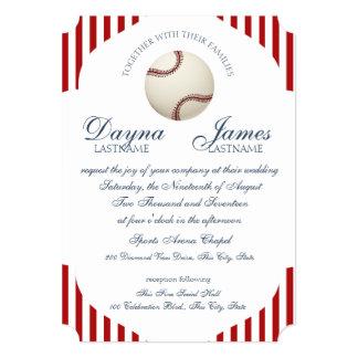 Baseball Park Stripes Wedding Card