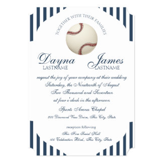 Baseball Park Stripes Wedding Card