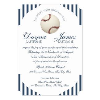 "Baseball Park Stripes Wedding 5"" X 7"" Invitation Card"
