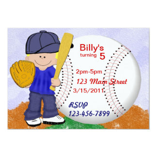 Baseball Party 5x7 Paper Invitation Card