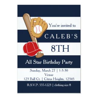 Baseball Party Blue Stripes Birthday Invitations