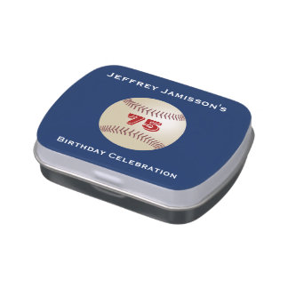 Baseball Party Favor 75th Birthday Candy Jelly Belly Tin