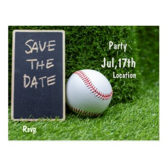 Baseball Party save the date on chalk board Postcard