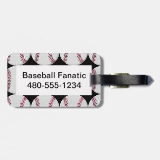Baseball Pattern on Black Luggage Tag
