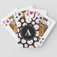 Baseball Pattern on Black Monogram Playing Cards
