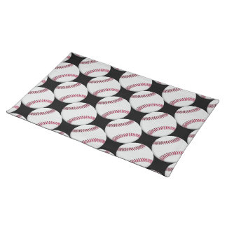 Baseball Pattern on Black or any color Cloth Placemat