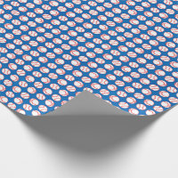 Baseball Pattern on Blue Wrapping Paper