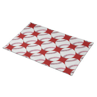 Baseball Pattern on Red or any color Cloth Placemat