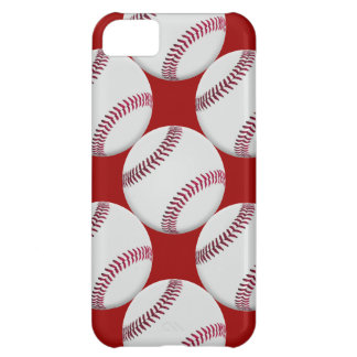 Baseball Pattern with red background Cover For iPhone 5C