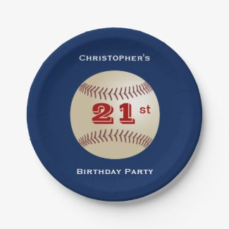 Baseball Personalized 21st Birthday Party Paper Plate