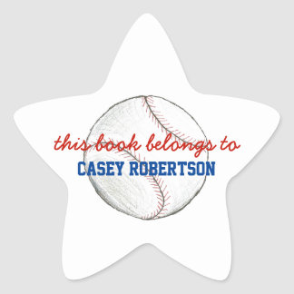 Baseball personalized bookplates for kids - star