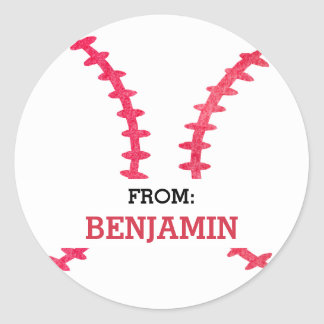 Baseball Personalized From Sports Themed Party Classic Round Sticker